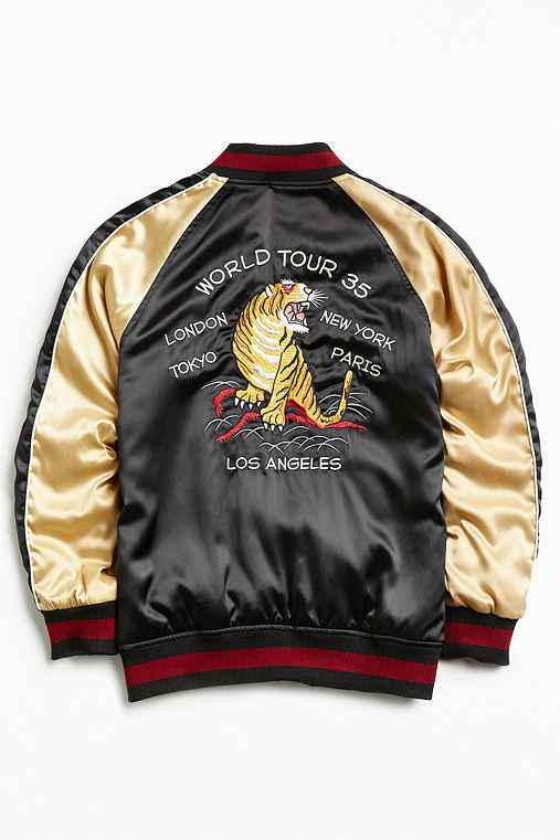 Stussy Satin Souvenir Jacket,BLACK,S