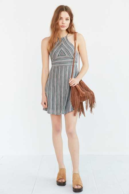 Ecote Milly Multi-Stripe Fit + Flare Dress