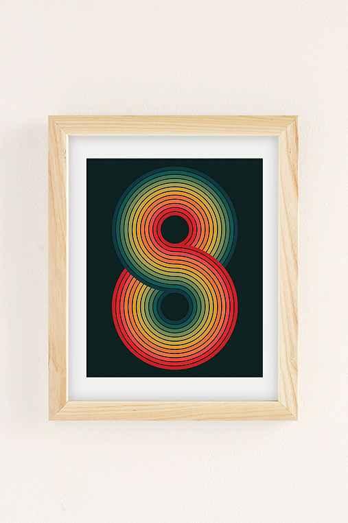 Angela Ferrara Infinite Psychedelic Art Print,NATURAL WOOD FRAME,8X10