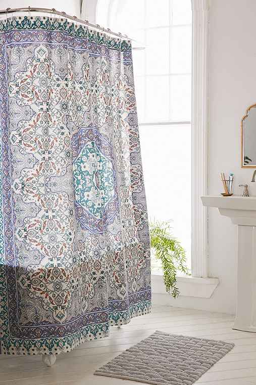 plum bow anza tiled medallion shower curtain urban outfitters. Black Bedroom Furniture Sets. Home Design Ideas