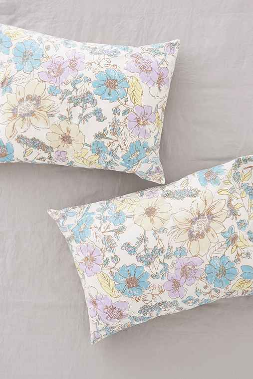 Magical Thinking Tilda Floral Pillowcase Set,BRIGHT YELLOW,ONE SIZE