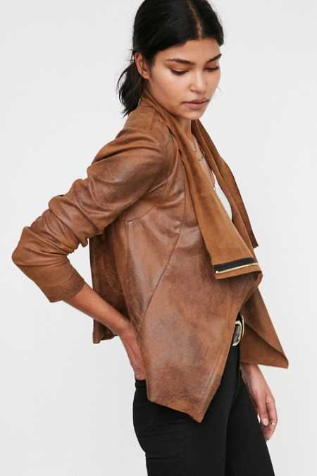 Silence + Noise Riley Drapey Vegan Suede Jacket
