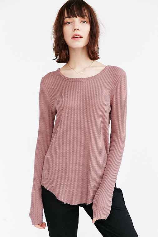 Truly Madly Deeply Helena Raw Edge Thermal Top,LAVENDER,L