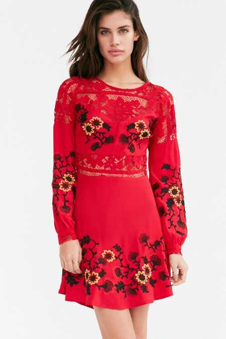 For Love & Lemons Isabella Long-Sleeve Mini Dress