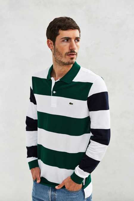 Lacoste Blocked Stripe Long-Sleeve Polo Shirt