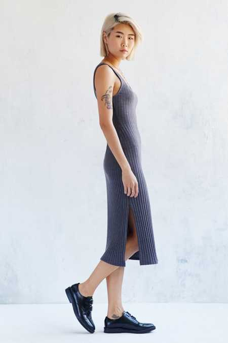 Silence + Noise Straight Ribbed Midi Dress