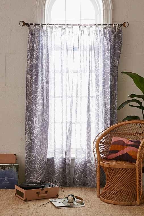 Plum & Bow Edna Palm Curtain,GREY,52X84