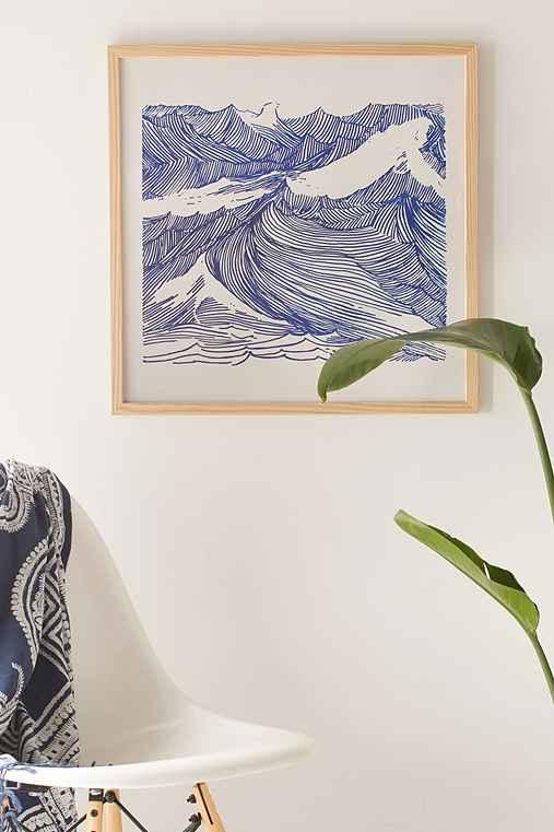 Kym Fulmer Crashing Waves Art Print,NATURAL WOOD FRAME,20X20