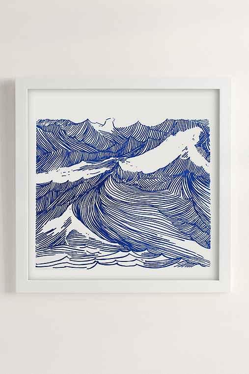 Kym Fulmer Crashing Waves Art Print,WHITE MATTE FRAME,30X30