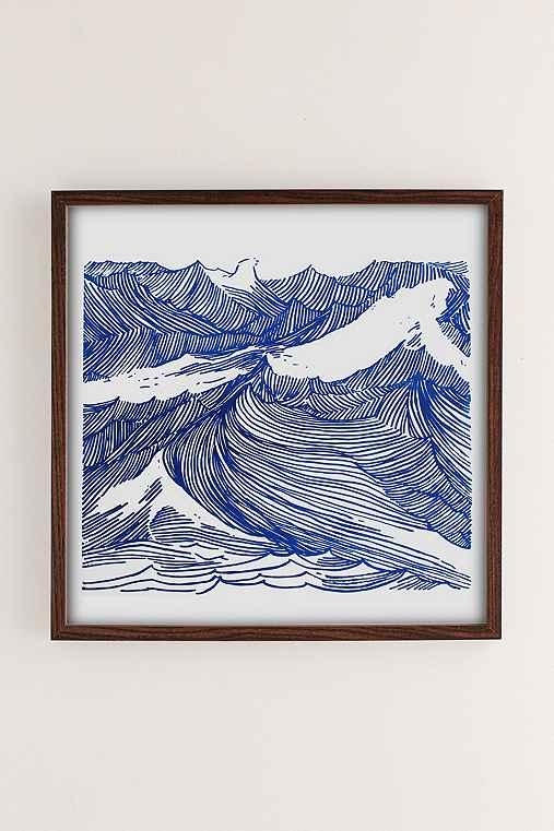 Kym Fulmer Crashing Waves Art Print,WALNUT WOOD FRAME,16X16