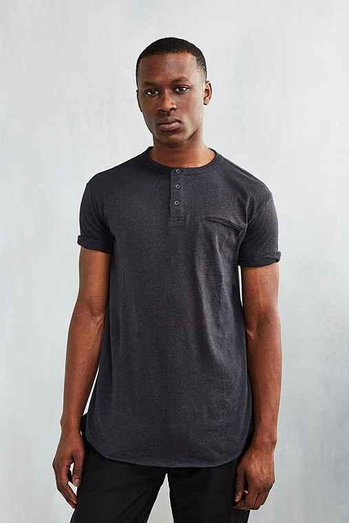 Feathers Delta Short-Sleeve Henley Shirt,WASHED BLACK,S