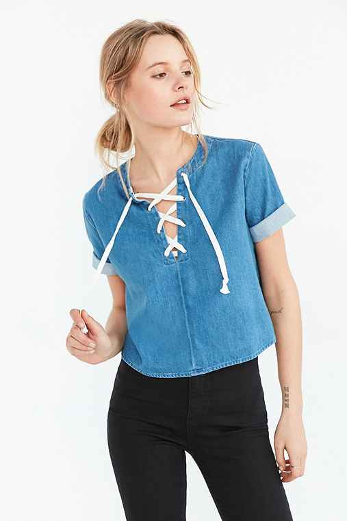 BDG Tavi Lace-Up Blouse,VINTAGE DENIM MEDIUM,S