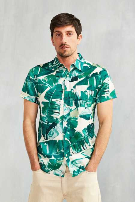 Deus Ex Machina Banana Leaf Short-Sleeve Button-Down Shirt