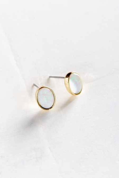 Genuine Opal Stone Post Earring