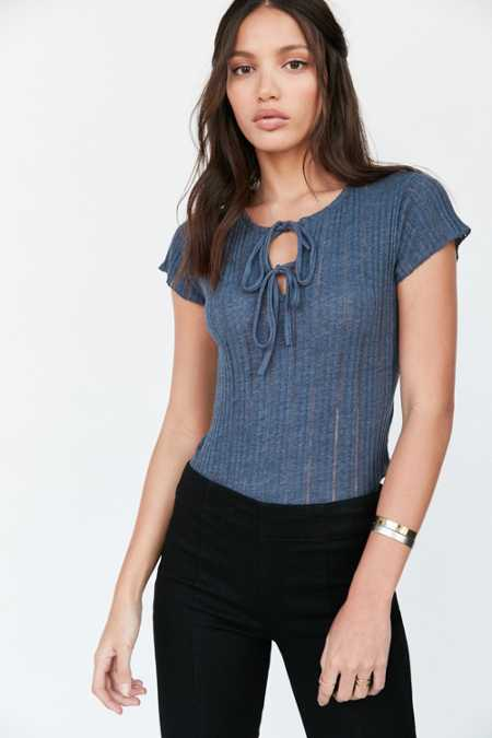 Kimchi Blue Sally Ribbed Knit Lace-Up Tee