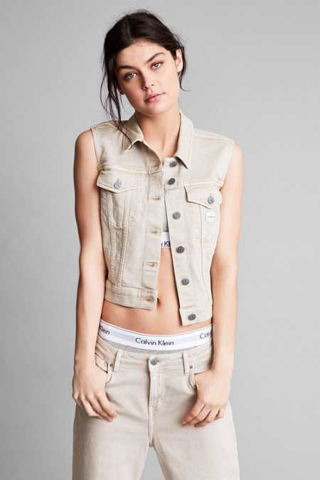 Calvin Klein For UO Khaki Sleeveless Trucker Jacket