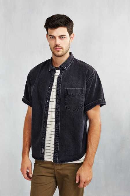 CPO Denim Short-Sleeve Button-Down Shirt