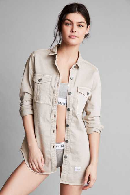 Calvin Klein For UO Khaki Button-Down Utility Shirt