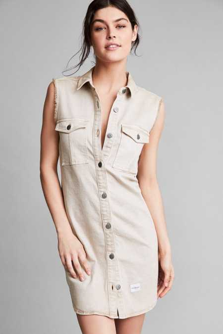 Calvin Klein For UO Khaki Sleeveless Shirt Dress