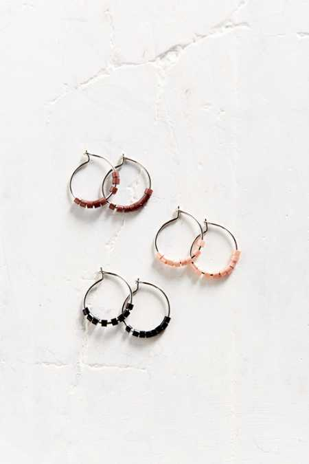 Bitty Bead Hoop Earring Set