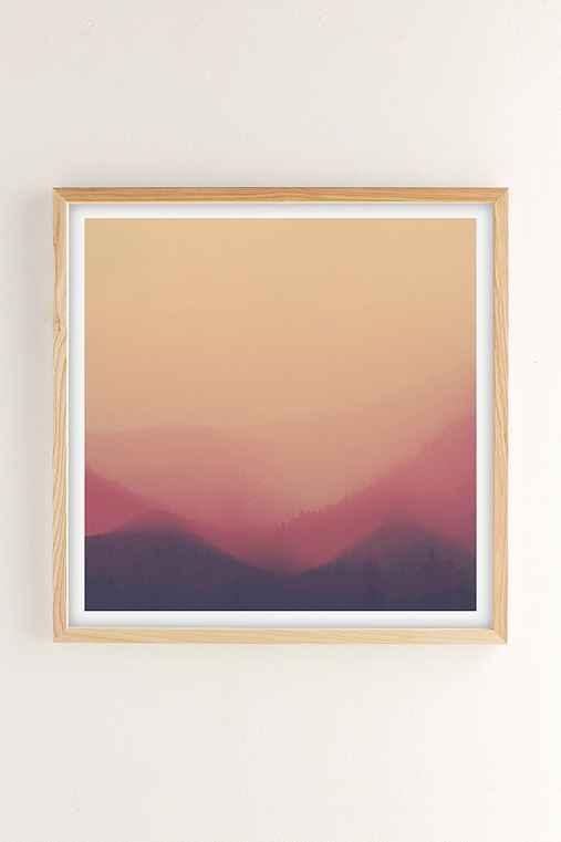 Hallwood Sunset Fog Art Print,NATURAL WOOD FRAME,30X30