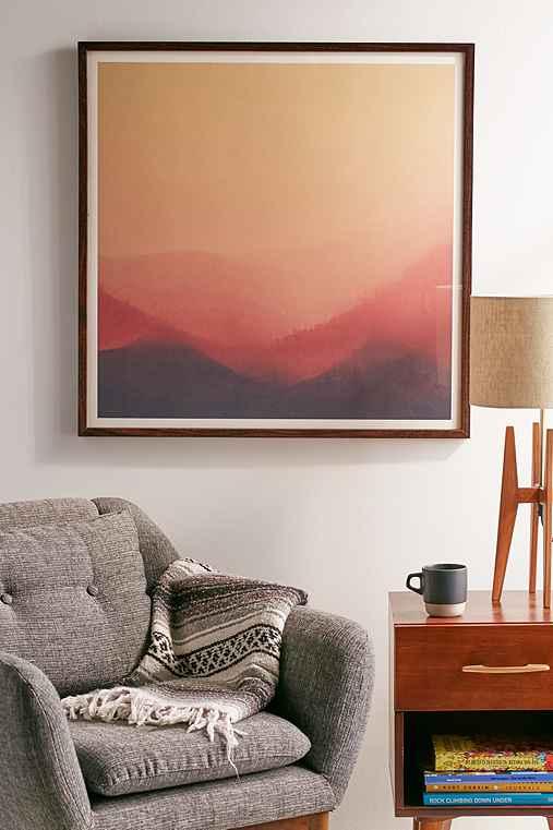 Hallwood Sunset Fog Art Print,WALNUT WOOD FRAME,20X20