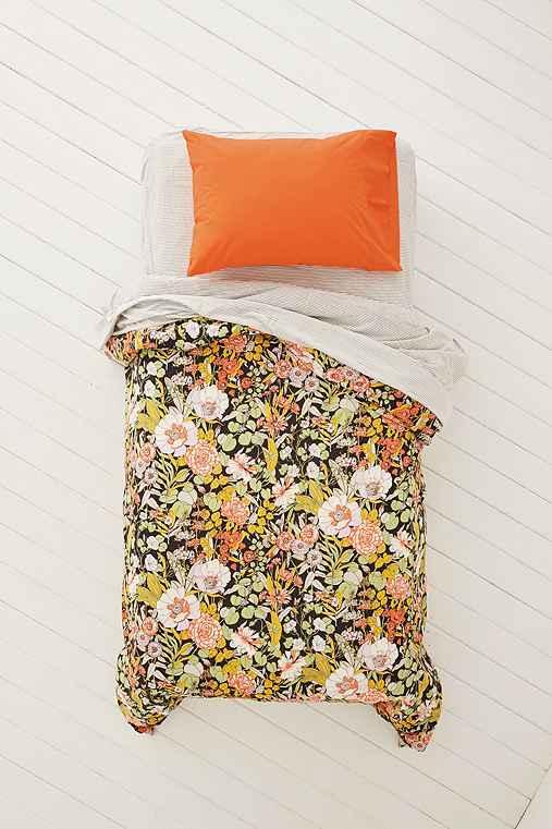 Plum & Bow Mila Allover Floral Duvet Snooze Set,BLACK,FULL/QUEEN