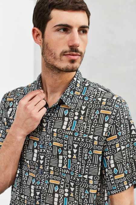CPO Geo Print Short-Sleeve Button-Down Shirt