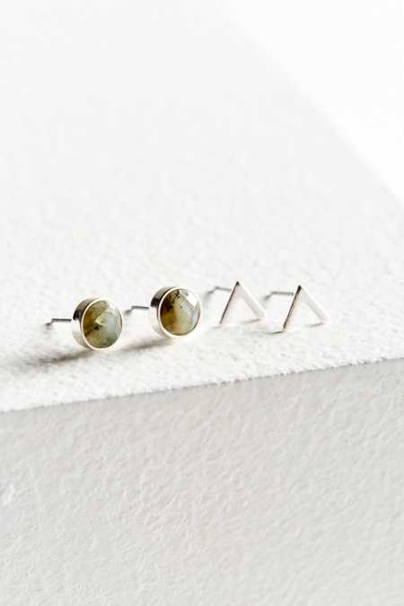 Metal + Stone Post Earring Set
