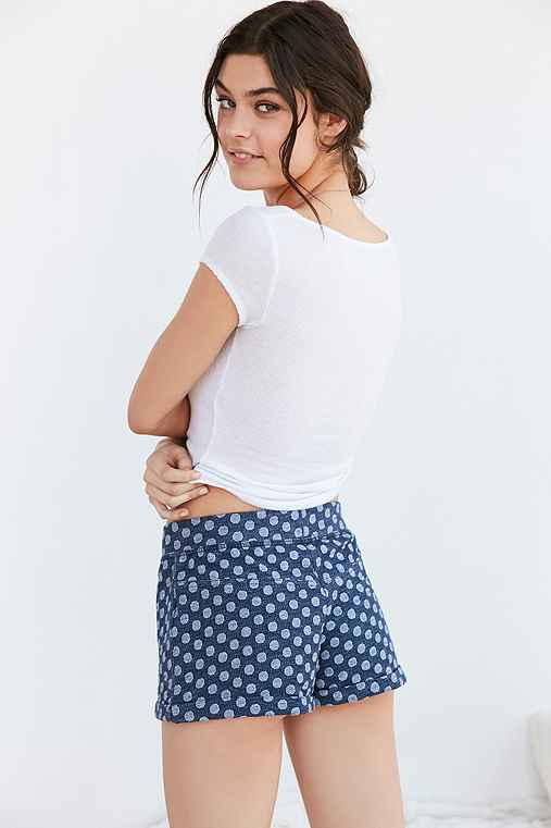 Out From Under Indigo Polka Dot Short,BLUE,XS