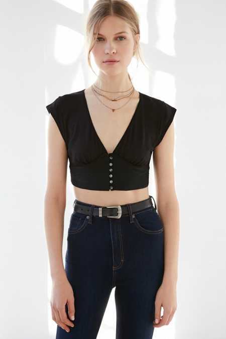 Kimchi Blue Deborah Button-Down Cropped Top