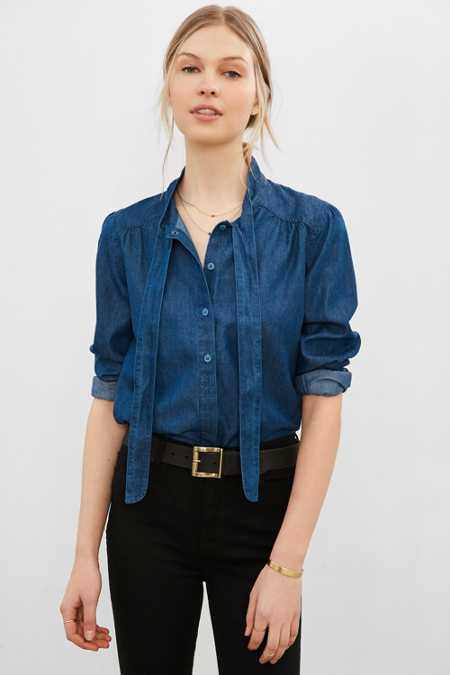 BDG Charlie Denim Button-Down Blouse