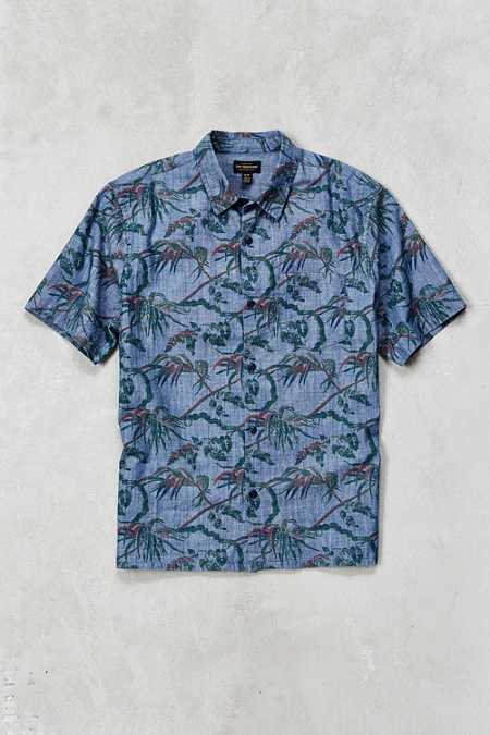 CPO Vine Floral Chambray Short-Sleeve Button-Down Shirt