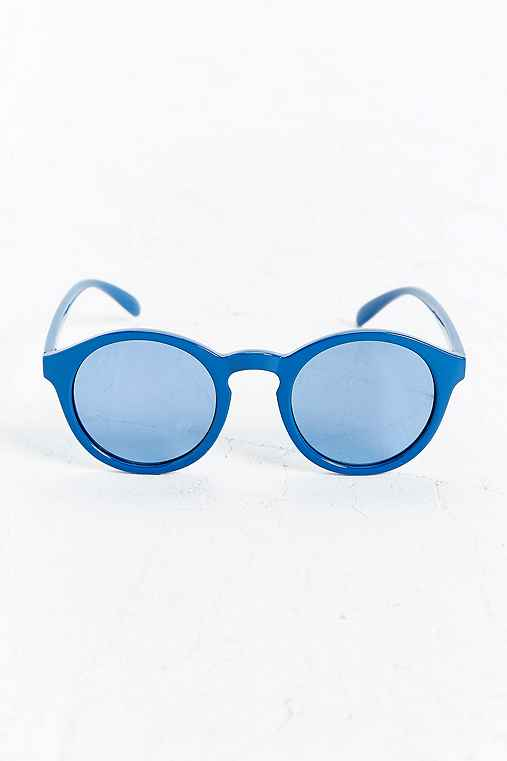 Plastic Round Sunglasses,BLUE,ONE SIZE