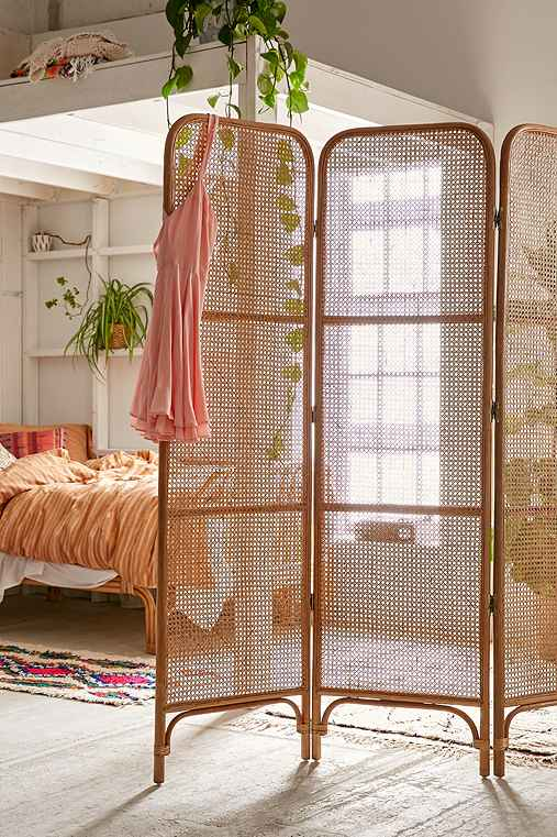 Rattan Screen Room Divider,BROWN,ONE SIZE