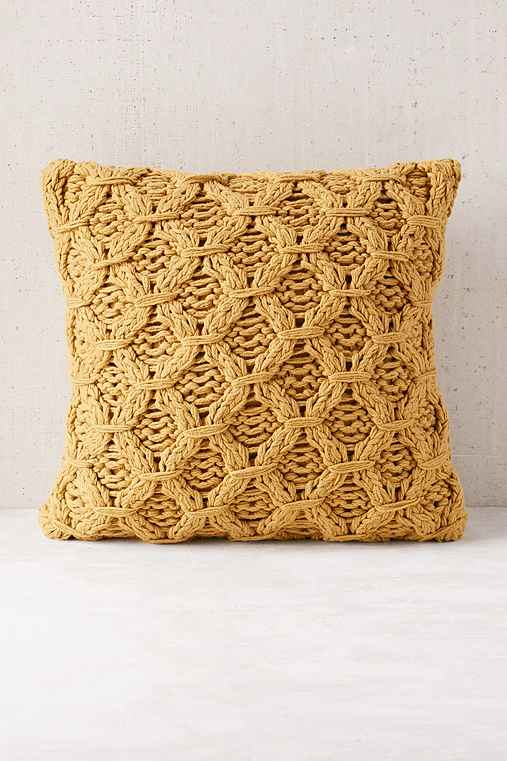 Chunky Cotton Knit Pillow,MUSTARD,ONE SIZE