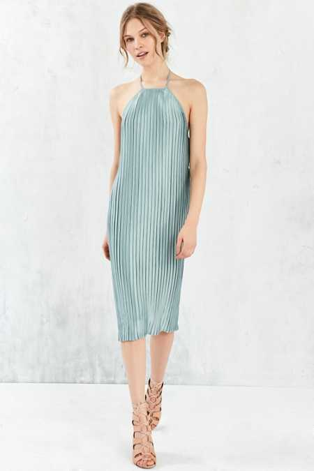 Silence + Noise Pleated Column Midi Dress