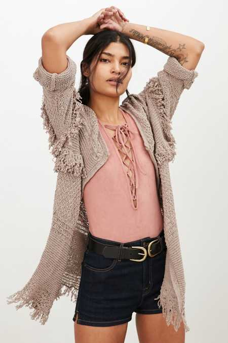 Ecote Mixed Stitch Crochet Fringe Cardigan