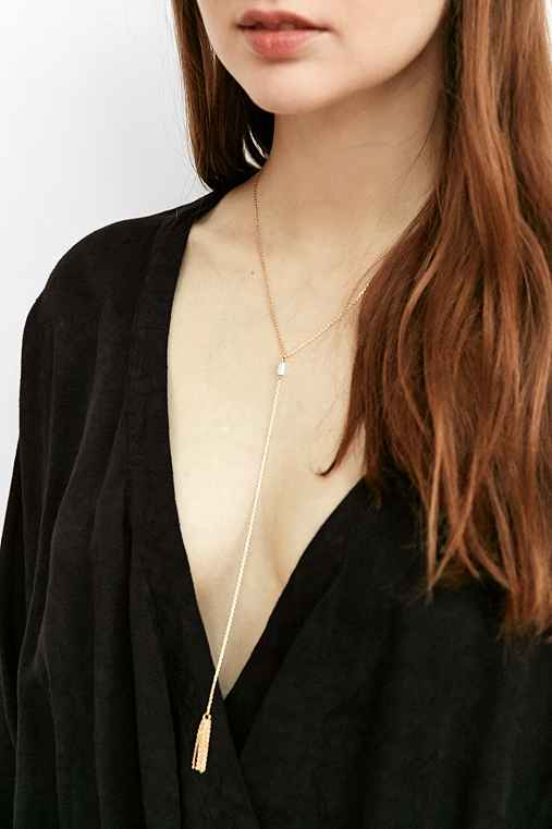 Bayside Tassel Lariat Necklace,GOLD,ONE SIZE