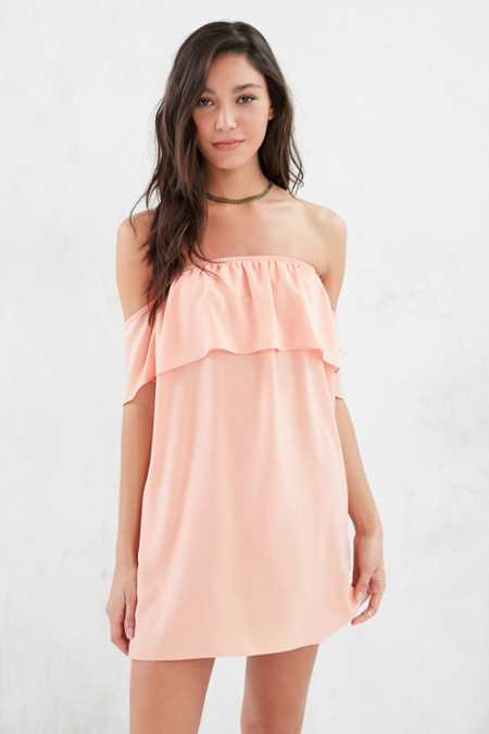 Ecote Satin Off-The-Shoulder Mini Dress