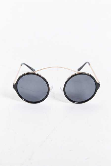 Brow-Bar Round Sunglasses