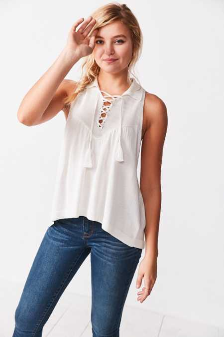 Ecote Lace-Up Swing Polo Tank