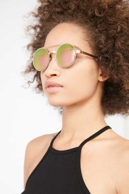 Flash Round Brow Bar Sunglasses