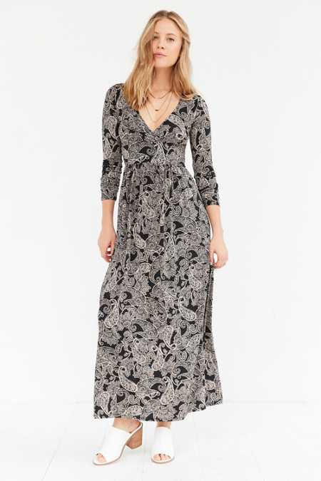 Ecote Surplice Printed Long-Sleeve Maxi Dress
