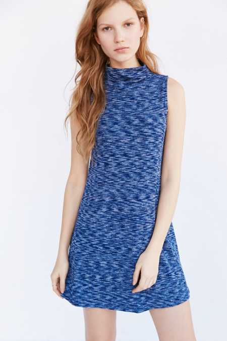 Silence + Noise Mock-Neck Space-Dye Knit Dress