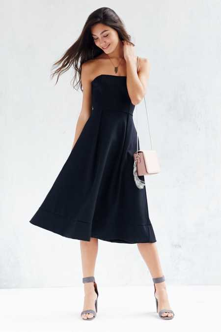 Silence + Noise Strapless Ponte Midi Dress