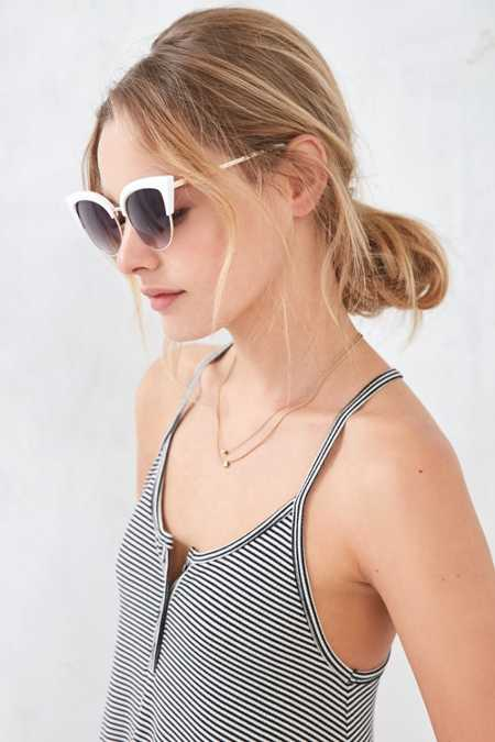 Half-Frame Exaggerated Cat-Eye Sunglasses