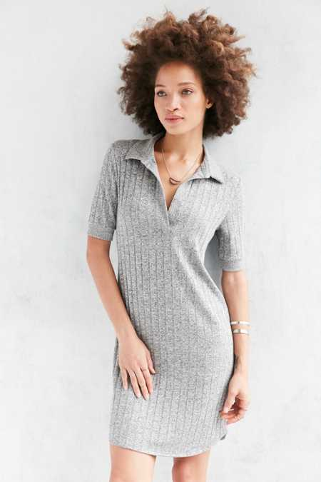 Cooperative Ribbed Knit Polo Dress