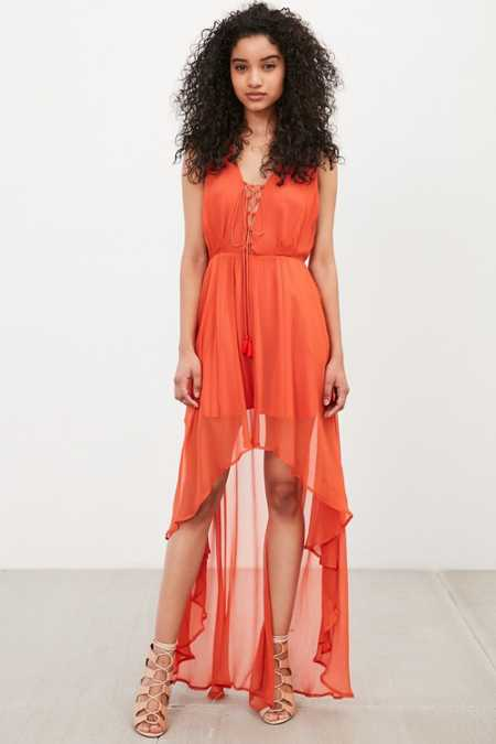 The Jetset Diaries Artisan Lace-Up High/Low Dress