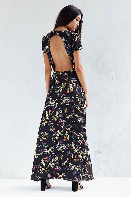 Oh My Love Open-Back Maxi Tea Dress,BLACK MULTI,L